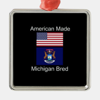 """American Born..Michigan Bred"" Flag Design Silver-Colored Square Decoration"
