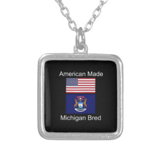 """American Born..Michigan Bred"" Flag Design Silver Plated Necklace"