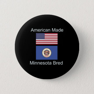 """American Born..Minnesota Bred"" Flag Design 6 Cm Round Badge"