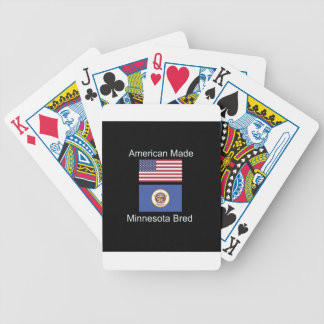 """""""American Born..Minnesota Bred"""" Flag Design Bicycle Playing Cards"""