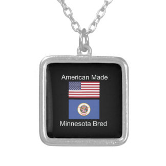 """""""American Born..Minnesota Bred"""" Flag Design Silver Plated Necklace"""