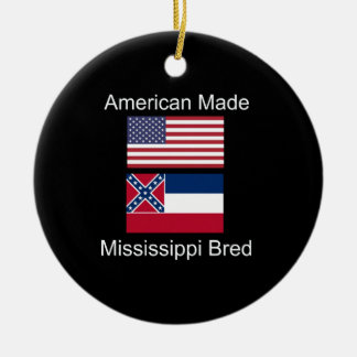 """American Born..Mississippi Bred"" Flag Design Ceramic Ornament"