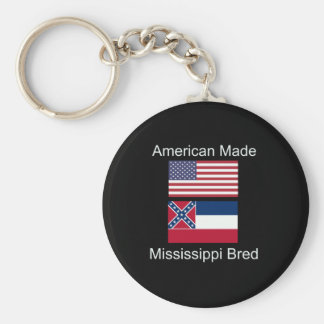 """American Born..Mississippi Bred"" Flag Design Key Ring"