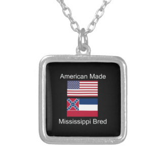 """American Born..Mississippi Bred"" Flag Design Silver Plated Necklace"