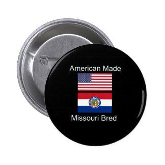 """""""American Born..Missouri Bred"""" Flag Design 6 Cm Round Badge"""