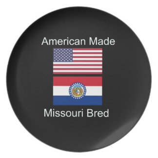 """American Born..Missouri Bred"" Flag Design Dinner Plates"