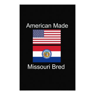 """American Born..Missouri Bred"" Flag Design Stationery Design"