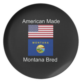 """""""American Born..Montana Bred"""" Flags and Patriotism Party Plates"""