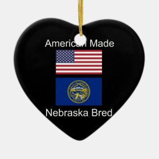 """American Born..Nebraska Bred"" Flag Design Ceramic Ornament"