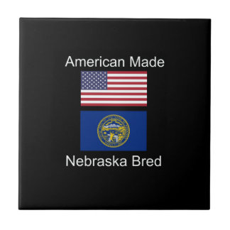 """American Born..Nebraska Bred"" Flag Design Ceramic Tile"