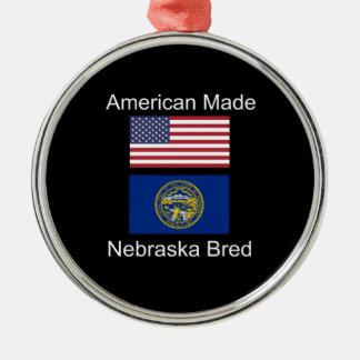 """American Born..Nebraska Bred"" Flag Design Metal Ornament"