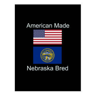 """American Born..Nebraska Bred"" Flag Design Postcard"