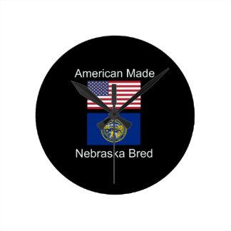 """American Born..Nebraska Bred"" Flag Design Round Clock"