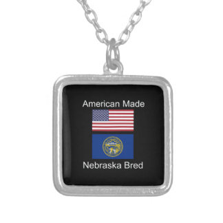 """American Born..Nebraska Bred"" Flag Design Silver Plated Necklace"