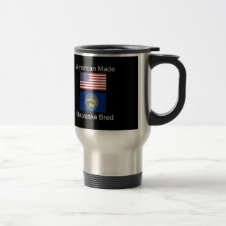 """American Born..Nebraska Bred"" Flag Design Travel Mug"