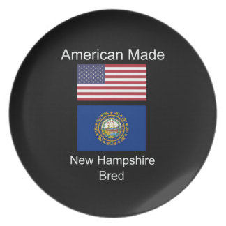 """American Born..New Hampshire Bred"" Flag Design Dinner Plates"
