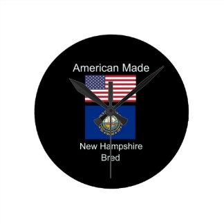 """""""American Born..New Hampshire Bred"""" Flag Design Round Clock"""