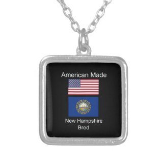 """""""American Born..New Hampshire Bred"""" Flag Design Silver Plated Necklace"""