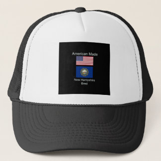 """American Born..New Hampshire Bred"" Flag Design Trucker Hat"