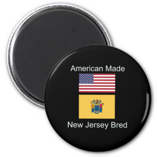 """American Born..New Jersey Bred"" Flag Design Magnet"