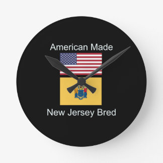 """American Born..New Jersey Bred"" Flag Design Round Clock"