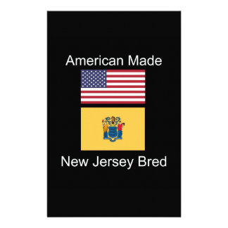 """""""American Born..New Jersey Bred"""" Flag Design Stationery"""