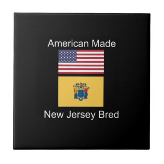 """American Born..New Jersey Bred"" Flag Design Tile"