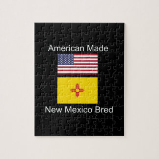 """American Born..New Mexico Bred"" Flag Design Jigsaw Puzzle"