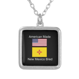 """American Born..New Mexico Bred"" Flag Design Silver Plated Necklace"