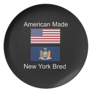 """American Born..New York Bred"" Flag Design Plates"