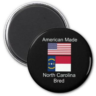 """American Born..North Carolina Bred"" Flag Design Magnet"