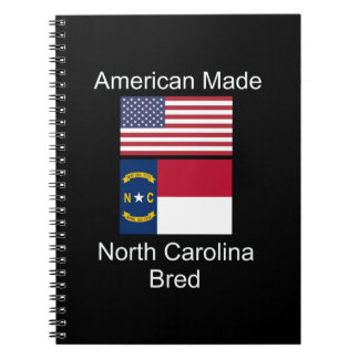 """American Born..North Carolina Bred"" Flag Design Notebooks"