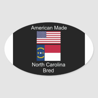 """American Born..North Carolina Bred"" Flag Design Oval Sticker"