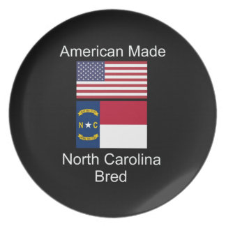 """American Born..North Carolina Bred"" Flag Design Plates"