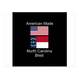 """American Born..North Carolina Bred"" Flag Design Postcard"