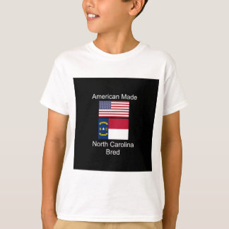 """American Born..North Carolina Bred"" Flag Design T-Shirt"