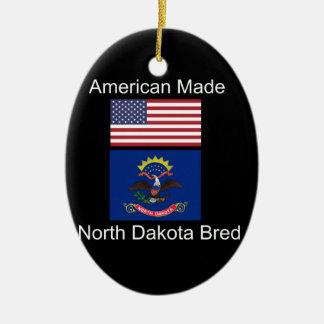 """American Born..North Dakota Bred"" Flag Design Ceramic Ornament"