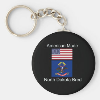 """American Born..North Dakota Bred"" Flag Design Key Ring"