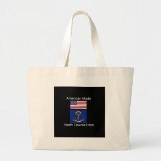 """American Born..North Dakota Bred"" Flag Design Large Tote Bag"