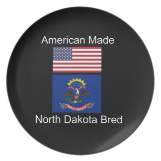 """American Born..North Dakota Bred"" Flag Design Party Plate"