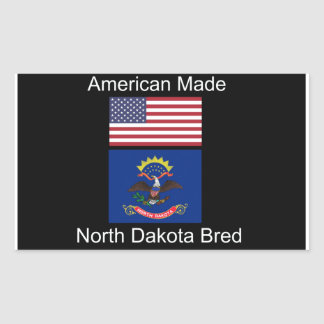 """American Born..North Dakota Bred"" Flag Design Rectangular Sticker"