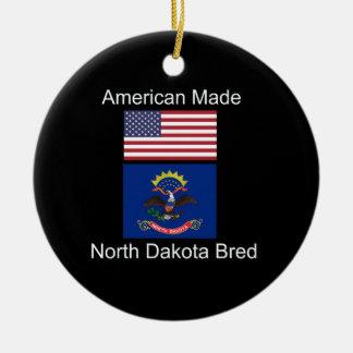 """""""American Born..North Dakota Bred"""" Flag Design Round Ceramic Decoration"""
