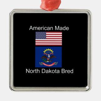 """""""American Born..North Dakota Bred"""" Flag Design Silver-Colored Square Decoration"""