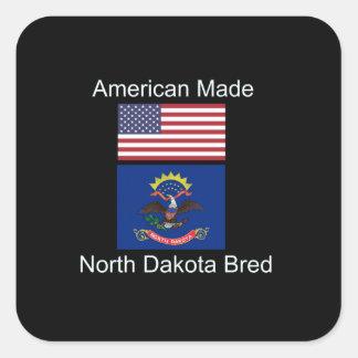 """""""American Born..North Dakota Bred"""" Flag Design Square Sticker"""