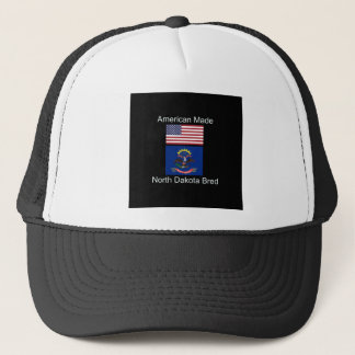 """American Born..North Dakota Bred"" Flag Design Trucker Hat"