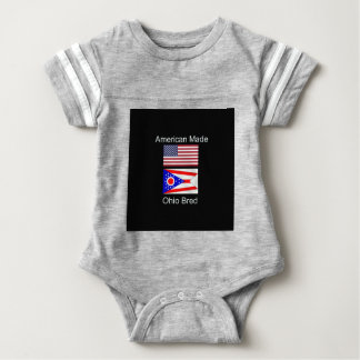 """American Born..Ohio Bred"" Flags and Patriotism Baby Bodysuit"