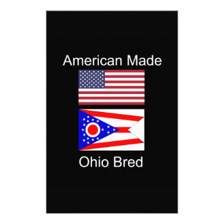 """""""American Born..Ohio Bred"""" Flags and Patriotism Custom Stationery"""