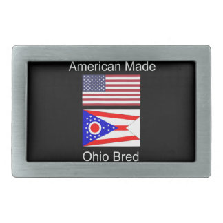 """American Born..Ohio Bred"" Flags and Patriotism Rectangular Belt Buckle"