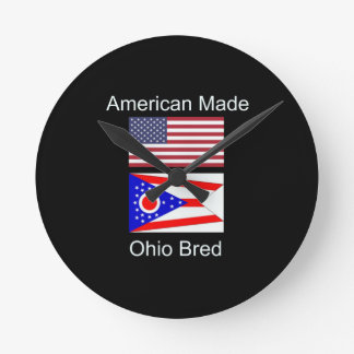 """American Born..Ohio Bred"" Flags and Patriotism Round Clock"