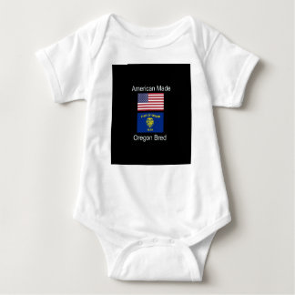 """""""American Born..Oregon Bred"""" Flags and Patriotism Baby Bodysuit"""